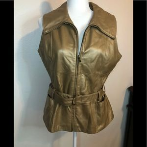Sharon Young gold leather vest Large lined holiday